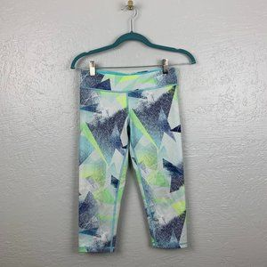Ivivva Size 14 Crop Leggings Blue White Green